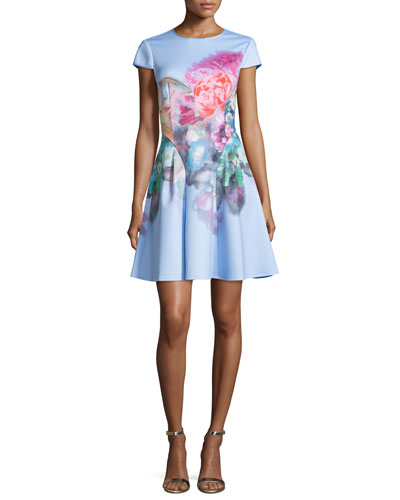 Bowkay Floral Fit & Flare Dress, Pale Blue