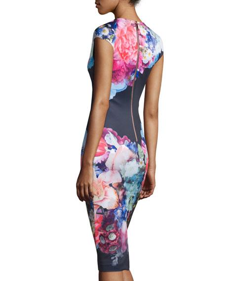 ... Baker London Brynee Cap-Sleeve Floral-Print Sheath Dress, Dark Blue