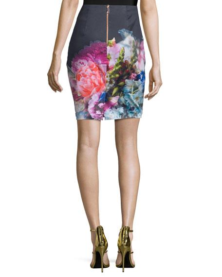 Karyce Floral-Print Pencil Skirt, Dark Blue