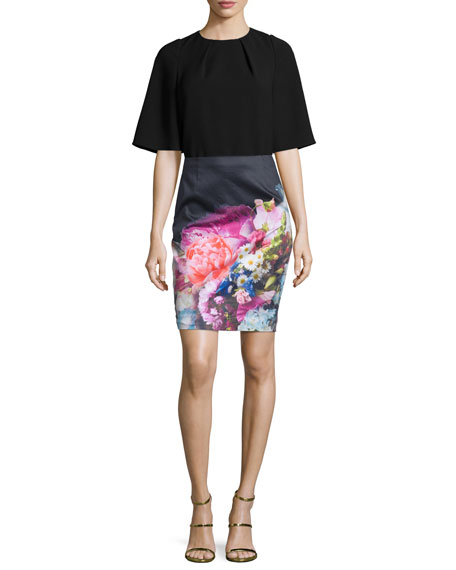 Ted Baker London Karyce Floral-Print Pencil Skirt, Dark Blue