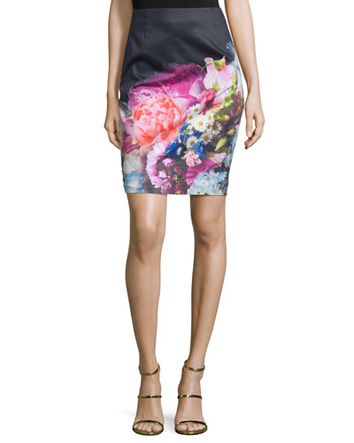 Karyce Floral-Print Pencil Skirt, Dark Blue