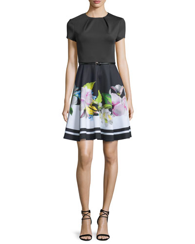 Vidaa Floral Short-Sleeve Belted Dress, Black