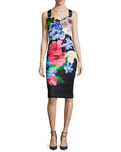 Alexie Floral-Print Sheath Dress, Black
