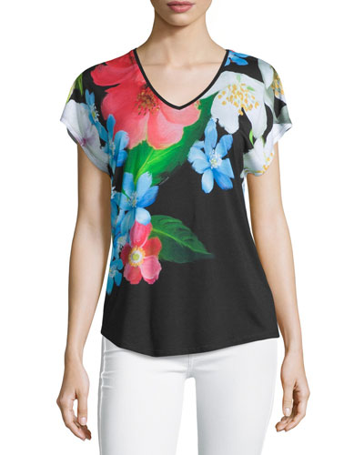 Reneah Cap-Sleeve Floral-Print Top, Black