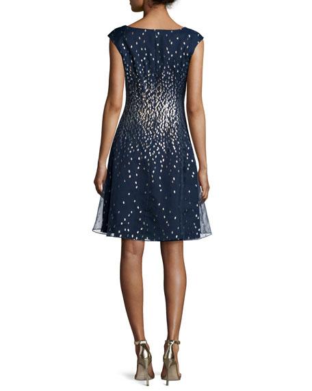 Cap-Sleeve Metallic Silk Organza Fit-and-Flare Dress, Navy