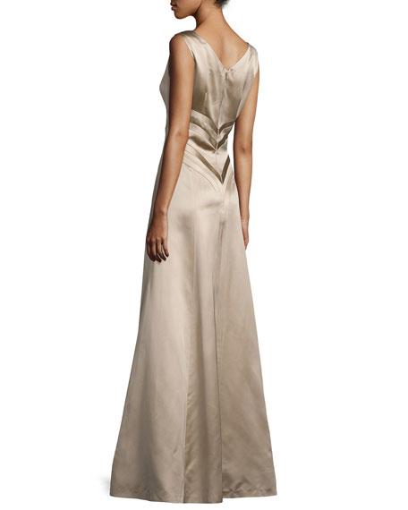 Sleeveless V-Neck Satin Gown, Mocha