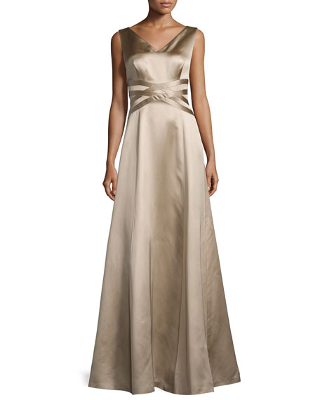 Kay Unger New York Sleeveless V-Neck Satin Gown,