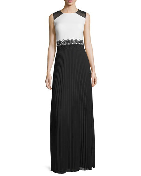 Kay Unger New York Sleeveless Crepe & Pleated