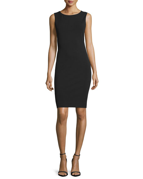 Nicole Miller Sleeveless Cowl-Back Sheath Dress, Black