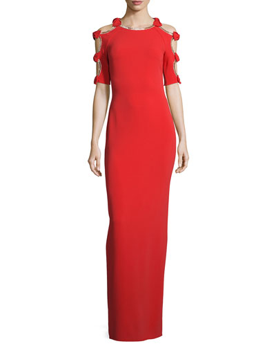 Bow-Sleeve Column Gown W/Cutouts, Red