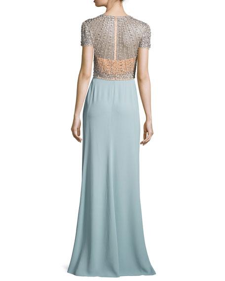 Crystal-Bodice Short-Sleeve Gown