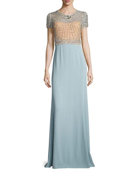 Jenny Packham Crystal-Bodice Short-Sleeve Gown