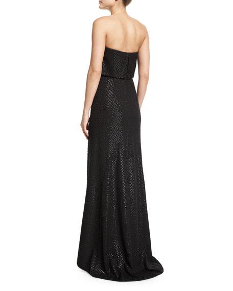 Strapless Popover Beaded Column Gown