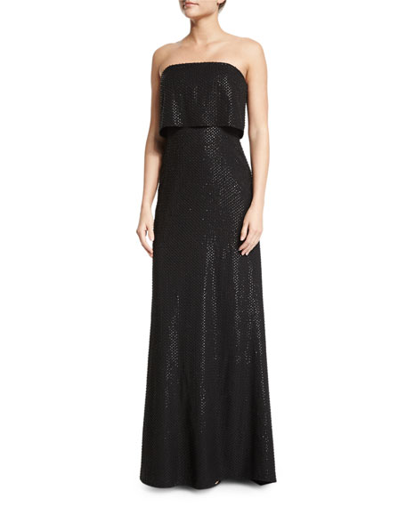 Halston Heritage Strapless Popover Beaded Column Gown