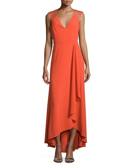 Halston Heritage Sleeveless Strappy High-Low Ruffle Dress,