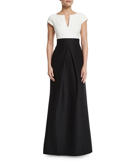 Halston HeritageShort-Sleeve Combo Full-Skirt Gown, Black/Chalk