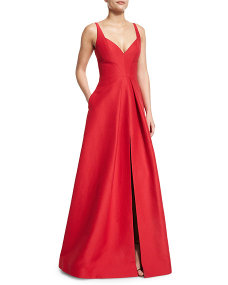 Halston Heritage Sleeveless V-Neck Structured Gown, Carmine