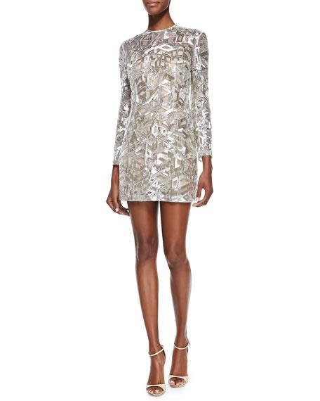 Rubin Singer Geometric-Beaded Tulle Cocktail Dress, Silver