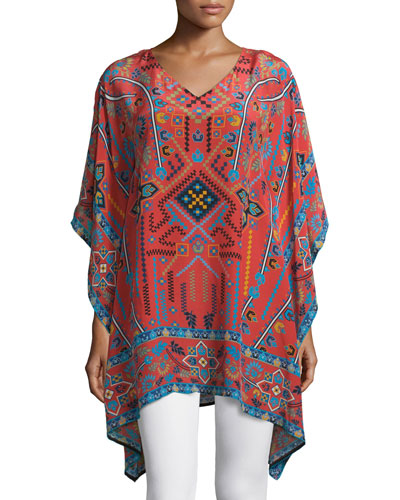 Camille V-Neck Printed Easy Long Tunic, Rust, Plus Size