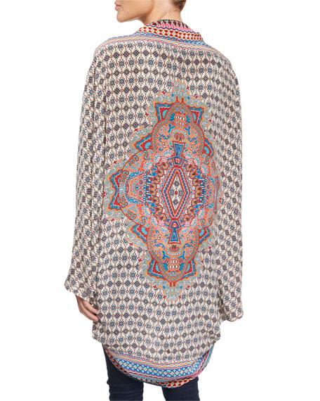 Beatrice Mixed-Print Silk Kimono