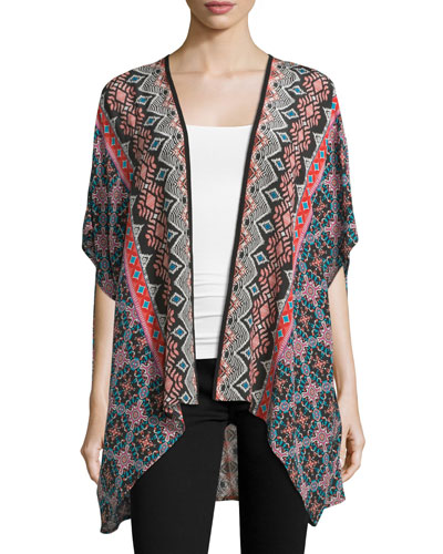 Noelle Tribal-Print Silk Kimono, Noire, Plus Size