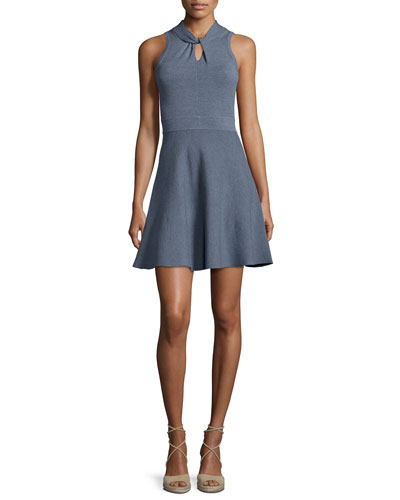 Twist-Neck Fit-and-Flare Dress, Chambray