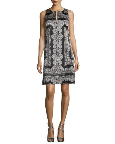 Sleeveless Silk Lace-Print Mini Dress, Black/White