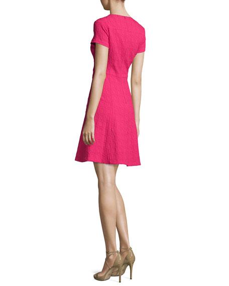 Short-Sleeve Jacquard Fit-and-Flare Dress, Fuchsia
