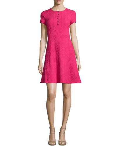 Short-Sleeve Jacquard Fit-and-Flare Dress, Fuchsia