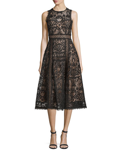 Sleeveless Lace Fit & Flare Dress, Black