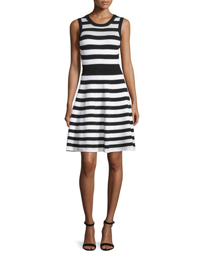 Striped Pointelle A-Line Dress, Black/White