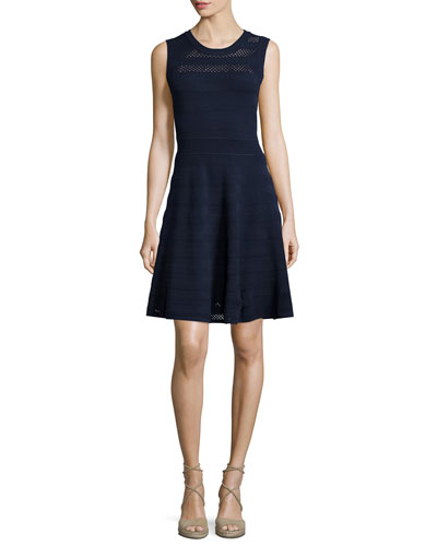 Sleeveless Pointelle Knit Dress, Navy