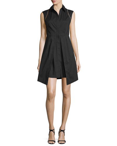 Cap-Sleeve High-Neck Vented Dress, Jet