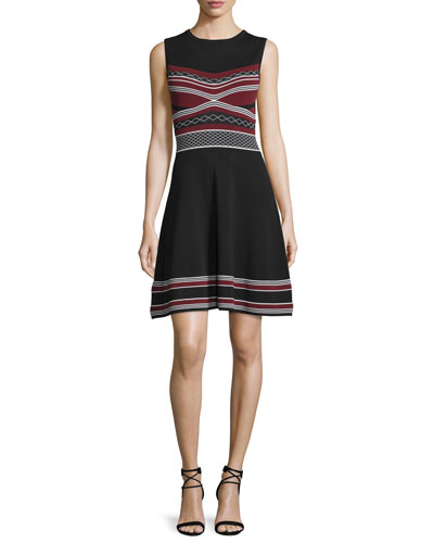 Sleeveless Multi-Striped Fit-And-Flare Dress, Jet/Port