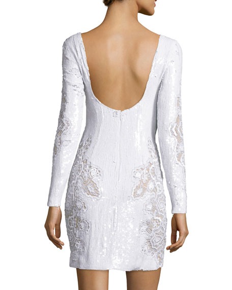 Long-Sleeve Sequined Lace Cocktail Dress, White