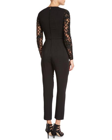 Beaded Illusion Lattice Jumpsuit, Black