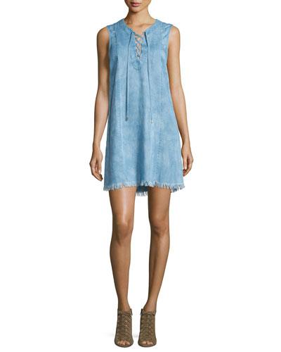 Sleeveless Lace-Up Denim Dress, Chambray