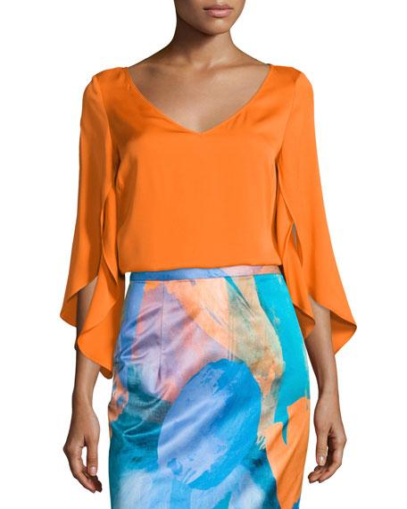Butterfly-Sleeve V-Neck Blouse, Orange