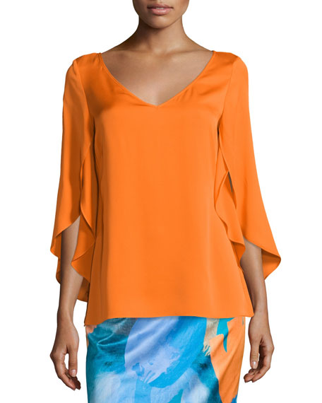 Butterfly-Sleeve V-Neck Blouse, Orange
