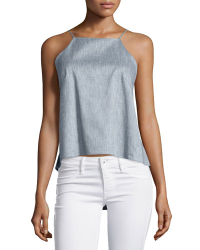 Chambray Twill Trapeze Cami Top, Denim