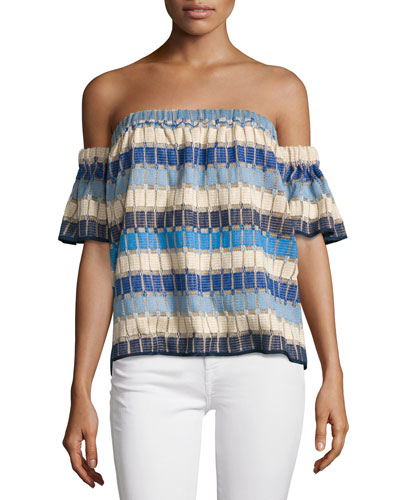 Marina Off-the-Shoulder Netting Top, Multi
