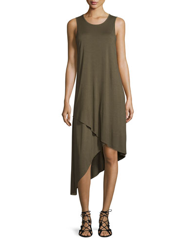 Sleeveless Asymmetric-Hem Midi Dress, Green