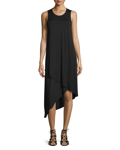 Sleeveless Asymmetric-Hem Midi Dress, Black