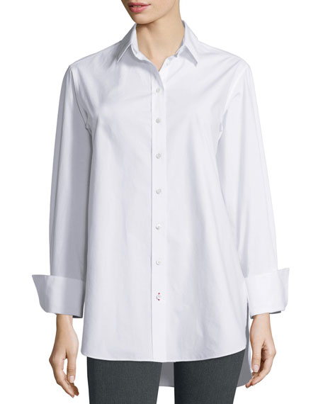 Emile Oversized Button Front Poplin Blouse, White by Neiman Marcus