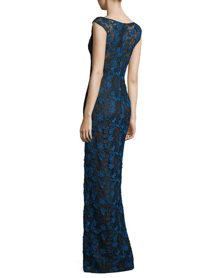 Sleeveless Floral Lace Gown, Black/Multicolor