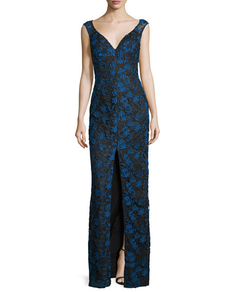 Aidan Mattox Sleeveless Floral Lace Gown, Black/Multicolor