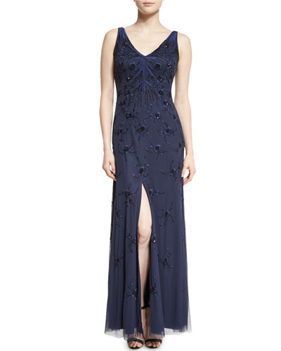 Sleeveless Embroidered Beaded Gown, Twilight/Black