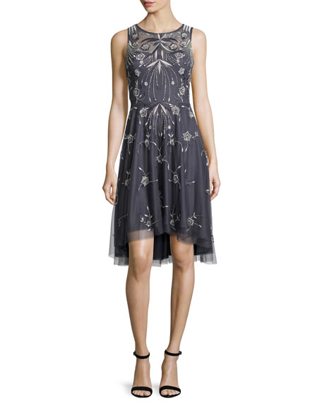 Sleeveless Embroidered A-Line Dress, Gunmetal