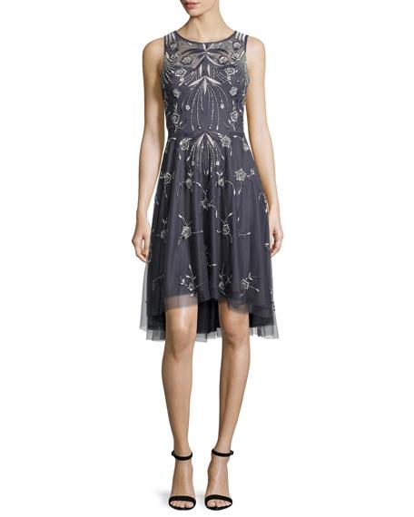 Sleeveless Embroidered A-Line Dress, Gunmetal