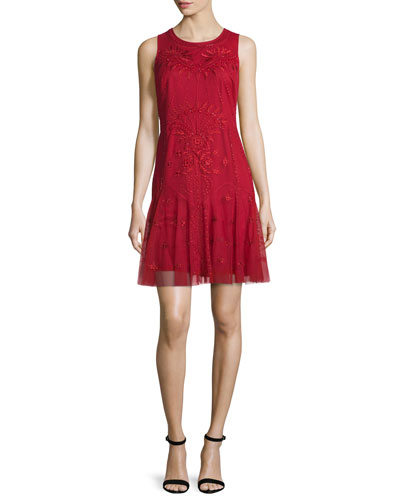 Sleeveless Embroidered Fit-and-Flare Dress, Garnet